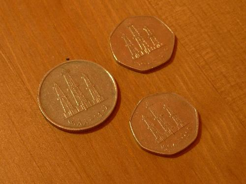 Photo of a larger than normal Dubai 50 fil coin