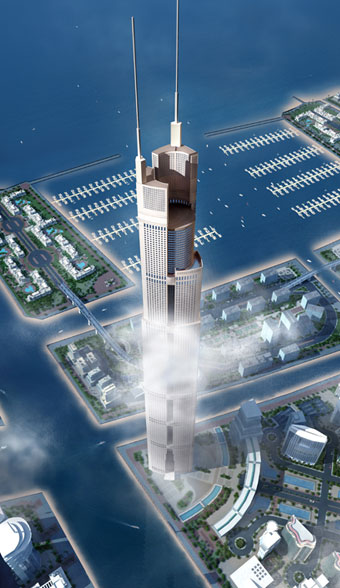 Concept Painting of the Al Burj skyscraper being built on the Dubai Waterfront at the Palm Jebel Ali