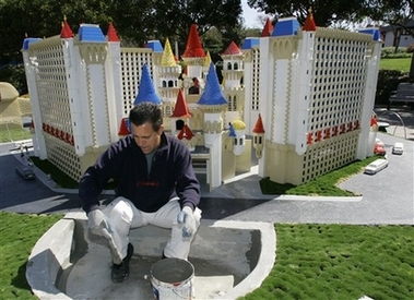 Photo of Las Vegas' Excaliber Hotel made of out LEGO Bricks at LEGOLAND California