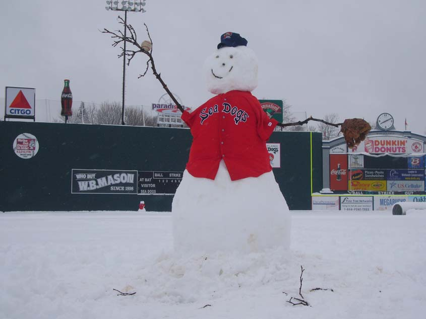 Photo of snowman baseball player at Portland, Maine's Hadlock Field