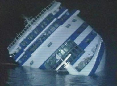 Video grab of a Sea Diamond cruise ship sinking off Santorini on April 6, 2007
