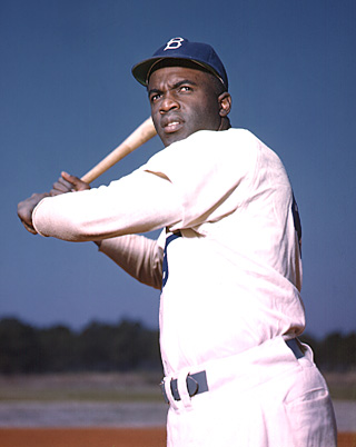 Photo of a Brooklyn Dodger Jackie Robinson