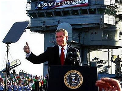 Photo of George W. Bush on the aircraft carrier USS Abraham Lincoln on May 1, 2003