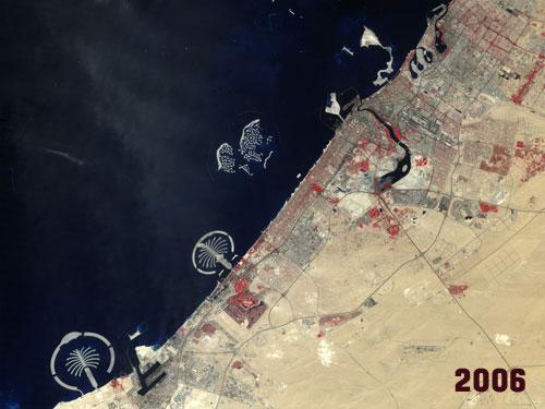 Photo of Dubai from Landsat 7 satellite on 11 October 2006