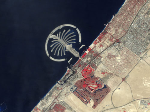 Photo of Dubai's Palm Jumeirah from Space