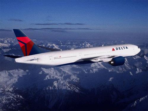 Photo of new Delta logo on plane