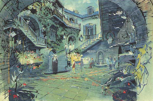 Herb Ryman concept painting of Disneyland's New Orleans Square