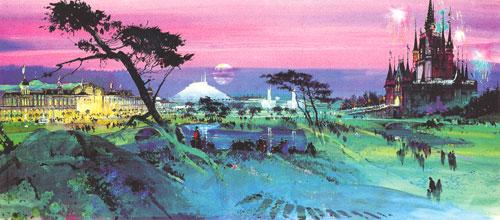 Herb Ryman concept painting of Tokyo Disneyland