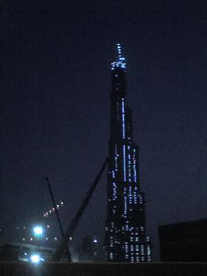 Photo of a Burj Dubai at night