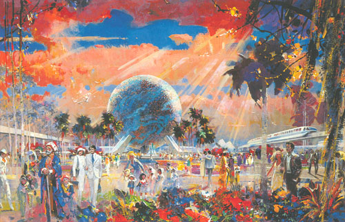 Herb Ryman concept painting for Communicore, EPCOT Center, 1964