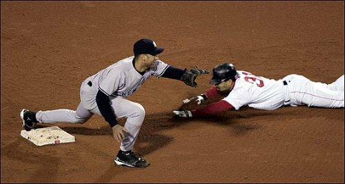 Photo of Dave Roberts stealing second base in 2004's ALCS Game Four