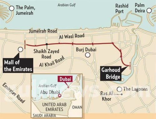 Dubai Salik Toll Map