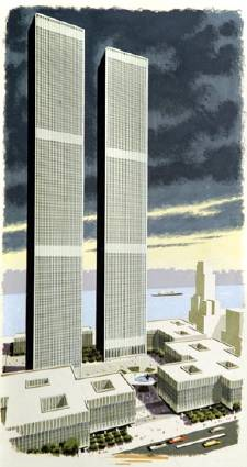 Bern Hilll painting of the World Trade Center